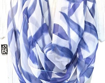 Infinity Scarf Silk, Gift for her, Blue and White Scarf, Silk Scarf Handpainted, Navy Blue and White Leaves Scarf, 14x72 in loop.