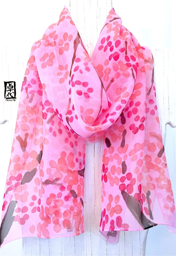 Silk Scarf Handpained, ETSY ASAP, ETSY Scarf, Pink SIlk Chiffon Scarf, Summer Scarf, Pink and Coral Pink Plum Blossoms Scarf, 11x60 inches