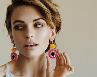 Spot On Drops - Sway - Laser Cut Drops Earrings - Pom Pom Earrings