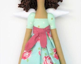 Rag doll, Guardian Angel doll, fabric doll, Tilda angel doll, Fairy doll mint teal pink polka dots roses blonde cloth doll baby shower gift