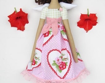 Tilda doll angel fabric doll handmade Guardian Angel cloth doll in rose dress cute stuffed doll rag doll brunette - birthday gift