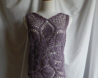 Crochet Top in Purple Lavender - Boho Lacey Chic Pullover Tank - Small