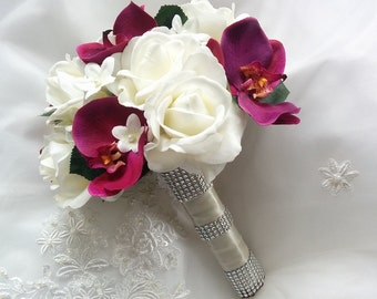 Wedding Natural Touch Ivory Roses And Burgundy Wine Sangria Orchids With Silk Stephanotis Bouquet