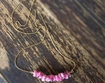 Raw Ruby Necklace - Gemstone Jewelry - July Birthstone Jewellery - Gold Chain - Unique