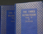 Vintage books, The Three Musketeers, Alexander Dumas, Blue books