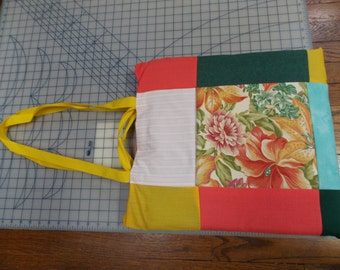 """15"""" Laptop Patchwork Case Padded Sleeve Floral and Stripes Tote Bag With Pockets"""