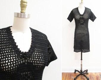 Vintage 1920s Sweater | Bohemian Black Rose Crochet Sweater 1920s Tunic | small