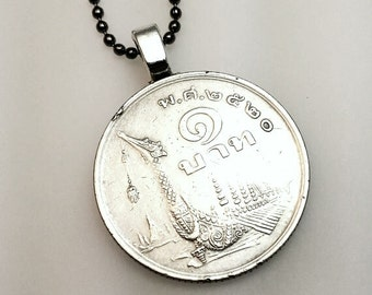 Dragon boat necklace. 40th. coin necklace. Dragon boat pendant. 1977 Thailand. Rama IX. vintage dragon coin. Thai jewelry. Thai necklace