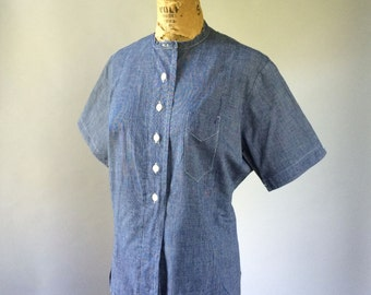 Deadstock 1940s Indigo Denim Button Front Work Blouse Short Sleeve Vintage Women's Uniform