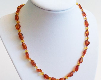 Baltic Amber Adult Necklace - Honey with Lemon Accent - Made in Canada