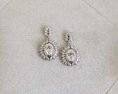 Vintage Wedding Earrings, Old Hollywood Wedding Earrings, Diamante bridal earrings, Silver wedding jewelry, bridal earrings, CZ Earrings