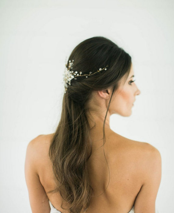 Silver crystal Bridal Headpiece, Wedding Hair Vine, Bridal Hair Piece, Silver Crystal beaded head piece, Gold Wedding Hair Accessories