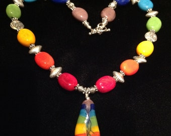 Hand blown glass rainbow necklace pewter findings