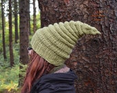 Elf Hat - Fall Leaves Collection - Grand Fir - Pointed Knitted Beanie - READY TO SHIP