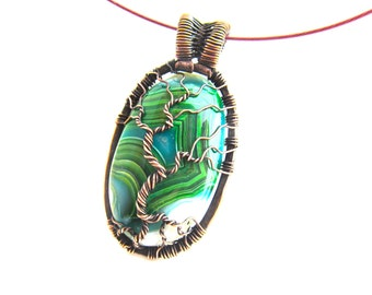 "Tree of Life Pendant  - Amazing Green Agate Cabochon and Chestnut Brown Wire - 2.75"" x 3"" - Chain Included"