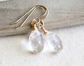 Crystal earrings, Clear Crystal Quartz earrings, Gold Crystal Earrings, April Birthstone Earrings, Diamond Crystal Earrings, birthday gift