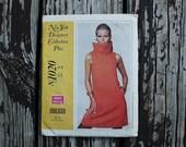 Anne Klein McCall New York Designer Plus 1020 60s 1960s Mod Cowl Neck A line Dress Vintage Sewing Pattern Size 12 Bust 34