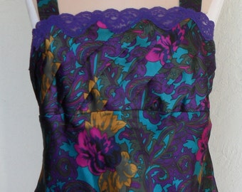 Vintage Camisole Paisley Satin Purple Lace Victoria's Secret