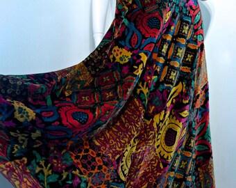Vintage early 70s JEWEL VELVET Bohemian Gypsy Maxi Skirt by Marion Donaldson // Super Soft Velvet // Hippie Luxe