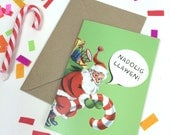 Nadolig Llawen Welsh Text Merry Christmas Retro Bright Green Santa Father Christmas Eco Friendly Greeting Card