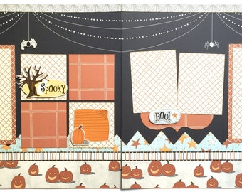 Spooky Pre Made 2 Page 12x12 Scrapbook Layout