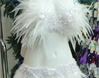 White Snow Feather Dance Drag Bra Skirt Bra Belt Samba Costume Set XS-XL