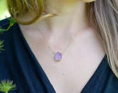 Gold Dipped Amethyst Necklace, Gold Amethyst Necklace, Amethyst Slice Pendant, Amethyst Necklace, 14kt Gold Fill