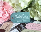 Wedding Favor Tags Thank You Custom Personalized Names & Date Thanks Tags - Perfect for S'mores, Chocolate, Champagne Tags - Bulk Listing