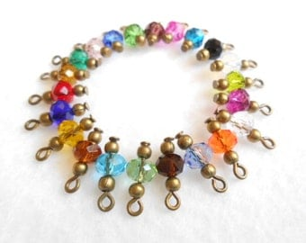 Select Antique Brass Faceted Rondelle Glass Dangle Beads