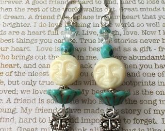 Owl Earrings - OOAK - Made With Czech Crystals In Turquoise and Off White Full Moon Jewelry Woodland Owls