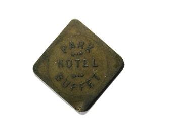 Vintage Token Park Hotel Gardiner Montana buffet 12 1/2 cents trade Token brass 1900s