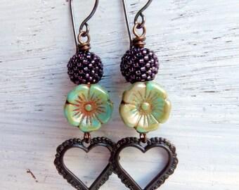 On My Soul - handmade earrings, glass earrings, burgundy earrings, marsala earrings, heart earrings, songbead, uk jewellery, heart jewellery