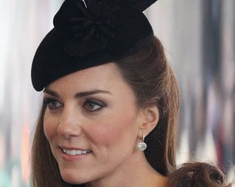 The Duchess Hat - Black Fascinator Hat - Wedding Hat - Royal Ascot - Wedding  Millinery -Formal Hat -Cocktail Hat -Black Felt Hat -Kate Hat
