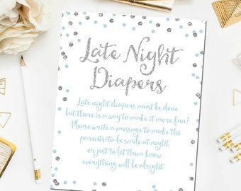 Blue and Silver Late Night Diapers Game Sign, Printable Baby Shower Game, Baby Shower Sign, Blue Silver Baby Shower Printable Instant BB9