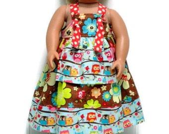 18 inch Doll Dress Doll Apron Knot Dress Doll Fall Dress Owl Large Floral Polka Dot 15 inch Doll Dress