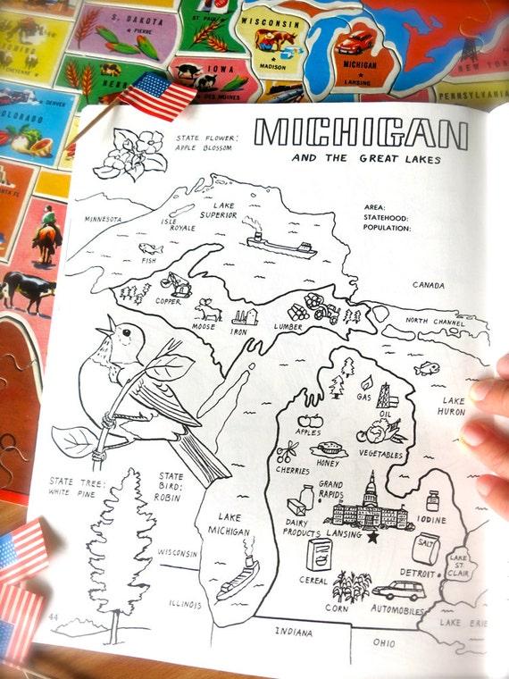 Michigan Para Colorear Libro Página Vintage Mapa Impresión - Mapa de michigan
