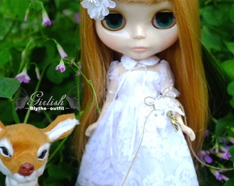 Girlish - White Lace Dress Set for Blythe doll - dress / outfit