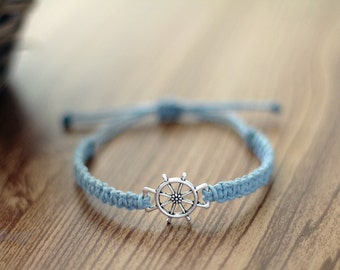 Nautical Ship Wheel Bracelet - Hemp Bracelet - Hemp Jewelry