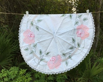 Vintage Hand Embroidered and Edged Round Tablecover Roses