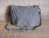 Vintage Green Grey  Canvas Cross Body Bag Messenger Satchel
