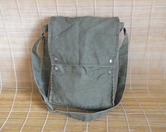 Vintage Army Green Canvas Cross Body Bag Messenger Satchel