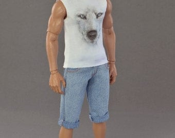 1/6th scale cut off T-shirt with graphic for: regular size collectible movable action figures and fashion dolls