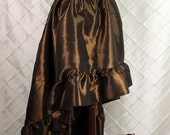 """Steampunk High Low Cecilia Skirt, Longer Length -- Brown Taffeta -- Ready to Ship -- Best Fits Up To 48"""" Waist"""