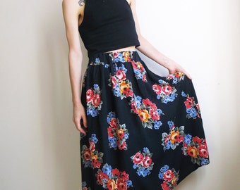 Floral Maxi Skirt Boho Skirt Black Midi Skirt High Waist Long Skirt Grunge Skirt Summer Skirt Hippie Folk Ethnic Small Extra Small XS