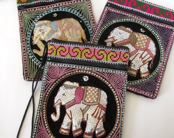 Large Vintage Lao Thai Elephant Sequin Colorful Embroidered Bag with Strap