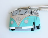 VW Purse Turquoise and Beige Leather Purse