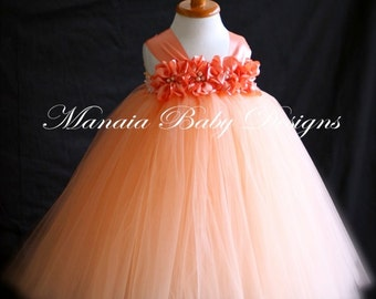 COLOR OF DRESS Can Be Changed! / Peach Flower Girl Dress / Tangerine Flower Girl Tutu dress / Orange Flower Girl Dress