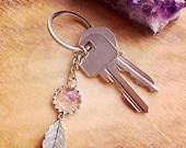 Dreamcather Keychain. Handmade with Fluorite Quartz Gemstone - Feather - Boho dreamcatcher Quartz Crystal - Wire wrapped