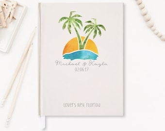 Beach Wedding Guest Book Wedding Guestbook Modern Tropical Destination Wedding  Nautical Wedding Palm Tree Personalized Custom Design GB-PT