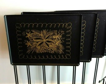 Vintage Set TV Trays with Storage Rack Rare Style Heavy Metal Side Serving Table  Black and Gold Fleur by Viking